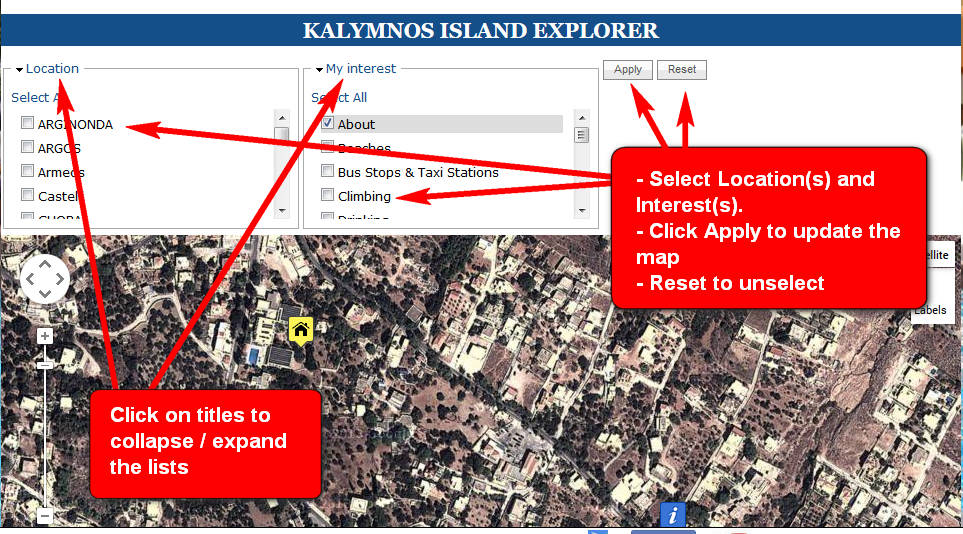 Locations Hotel ELIES Kalymnos Island