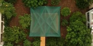 Closer top view of the outdoors yoga shala